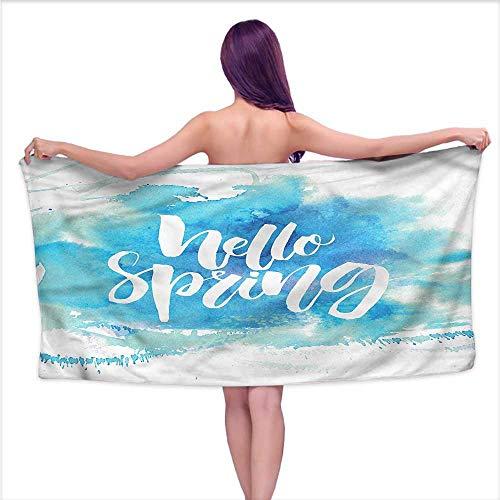 (Aurauiora Bath Towels Prime Hello,Pastel Blue Spring Theme,W31 xL63 for bathrooms, Beaches, Parties)