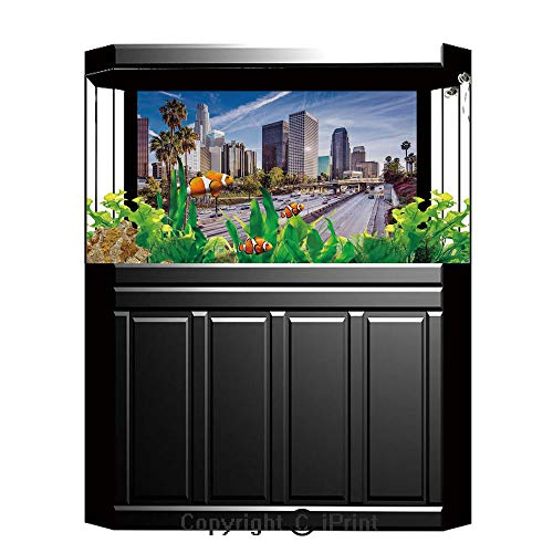 Terrarium Fish Tank Background,Travel Decor,Downtown Cityscape of Los Angeles California USA Avenue Buildings Palms,Blue Grey Green,Photography Backdrop for Pictures Party -