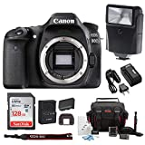 Cheap Canon EOS 80D Digital Camera Body Only with 128GB SD Card + Camera Flash + Double Battery and Travel Charger – Advanced Holiday Bundle
