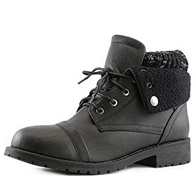 Women's DailyShoes Combat Style Lace Up Sweater Top Ankle Bootie With Pocket for Credit Card Knife Money Wallet Pocket Boots, 5