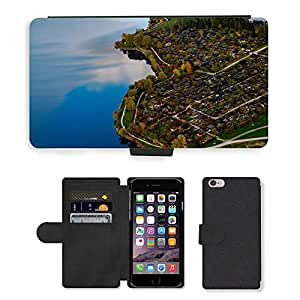 """CARD POCKET BOOK CASE PU LEATHER CASE // M00421822 Paisaje Casas Lago Azul Verde // Apple iPhone 6 PLUS 5.5"""""""