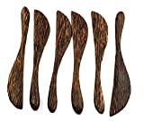 Wooden Bread Butter Cheese Jam Spreader Knife Knives Set of 6, Palm Wood