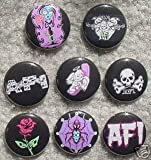 Set of 8 BRAND NEW AFI One Inch Buttons / Pins