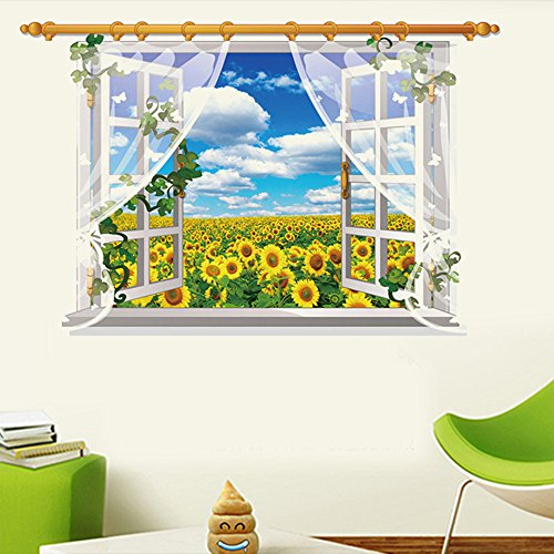 Team Sports Sunflower (Kaimao Sunflower 3D Window Decal Wall Sticker Art Murals Removable Wallpapers for Home)