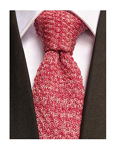Men's Solid Bright Red Jacquard Silk Knit Tie Summer Novelty Coral Designer Wedding Necktie Best Gift