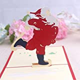 3D pop-up Merry Christmas Santa Claus Greeting Cards Wedding & Baby Shower Greeting Card (96)