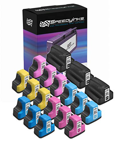 Speedy Inks Remanufactured Ink Cartridge Replacement for HP 02 (3 Black, 3 Cyan, 3 Magenta, 3 Yellow, 3 Light Cyan, 3 Light Magenta, 18-Pack)
