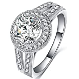 FENDINA Womens Jewelry Vintage Wedding Engagement Bands Solitaire Rings for Anniversary Band Her - 18K White Gold Plated - Luxurious Series-FR974 (7)