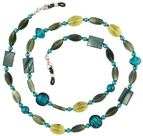 - Beaded Glass Eyeglass Chain Holder Fashion Lanyard Necklace, Jade Green