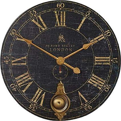 Amazoncom Wooden Large Round Wall Clock 30 Oversized Black Roman