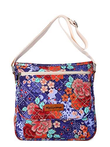 Malirona Canvas Messenger Bag Cross Body Purse Women Travel Purse Shoulder Satchel Floral Pattern (Cherry Flower)