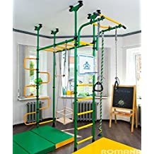 PEGAS - Children's indoor home gym (swedish wall) - Playground Set for Kids with gymnastic ladder, horizontal bar moving, gymnastic rings, trapeze, rope, horizontal bars, hole snake, shield basketball, swing. Suit for Gyms, Schools and Kids room