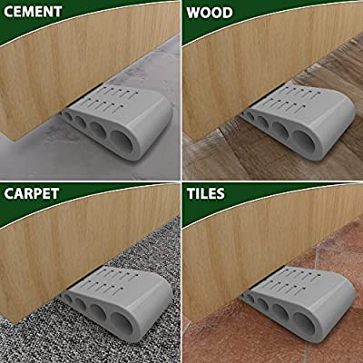 RockStar Concepts Door Stopper Rubber Stop Floor Wedge Holder Doorstop | Premium Quality Heavy Duty Non Slip All Surface Decorative Security Doorstopper | New Larger Taller Stops (3 Pack - Gray)