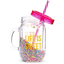 Fun Mason Jar Plastic Cup: Large Break Resistant, BPA Free To-Go Mug with Lid and Handle - Perfect as Party Cups, Kids Travel Cups, Wedding Party Cups (Single)