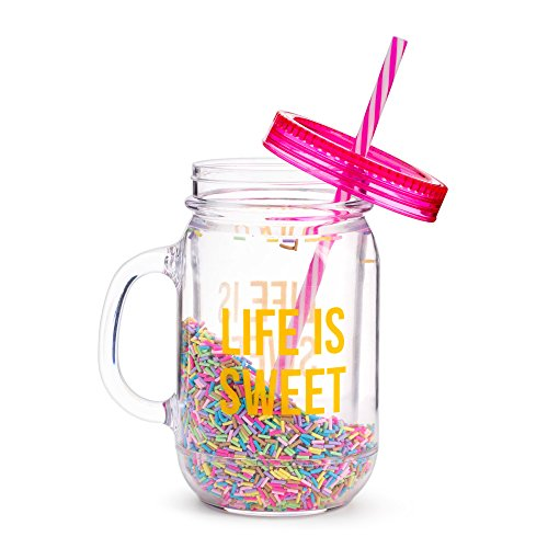 Fun Mason Jar Plastic Cups: Large Break Resistant, BPA Free To-Go Mug with Lid and Handle - Perfect as Party Cups, Kids Travel Cups, Wedding Party Cups (Life is Sweet, Single) ()