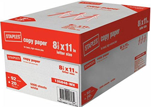 Staples Copy Paper Multi-Purpose Copier and Fax Machine Carton, Letter Size, Acid Free, 92 Bright, 20 lb., White, 5000 Sheets/Case