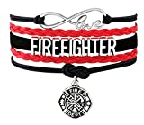 Best Wing Jewelry ''Firefighter'' Cord Braid Synthetic-Leather Warp Friendship Bracelets (Adjustable)