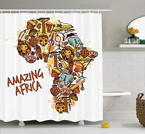 Ambesonne African Decorations Collection, Africa Map with Native Objects and Icons Tribal Mask and Mammals Graphic Travel Theme, Polyester Fabric Bathroom Shower Curtain, 75 Inches Long, Multi