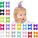 QtGirl 40pcs 2'' Baby Hair Bows Boutique Ribbon Mini Tiny Hair Bow with Alligator Clips Barrettes for Girls