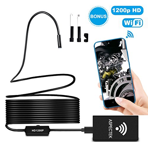 Wireless Endoscope –Borescope Inspection Camera – WiFi Endoscope – 2.0 Megapixels HD Snake Camera Android iOS Smartphone, iPhone, Tablet-Black(11.5FT)