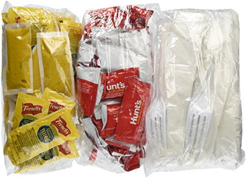 Hunt's Ketchup, French's Mustard Packets & White Plastic Cutlery Set With Salt, Pepper & Napkin BUNDLED!