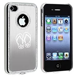 Apple iPhone 4 4S Silver S204 Rhinestone Crystal Bling Aluminum Plated Hard Case Cover Flip Flops with Hibiscus