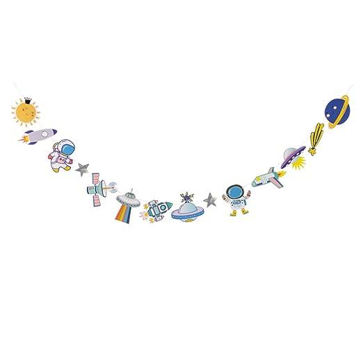 Amosfun fiesta de cumpleaños para niños banner astronauta ...