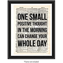 One Small Thought Vintage Dictionary Upcycled Old Antique Motivational Inspirational Famous Sign Decorative Minimalist Gift Quote Christian Teen Art Page Print Poster Home Wall Decor Dorm (8 x 10)