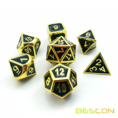 - BESCON DICE Bescon Super Shiny Deluxe Golden and Enamel Solid Metal Polyhedral Dice Set of 7 Gold Metallic RPG Role Playing Game Dice 7pcs set D4-D20