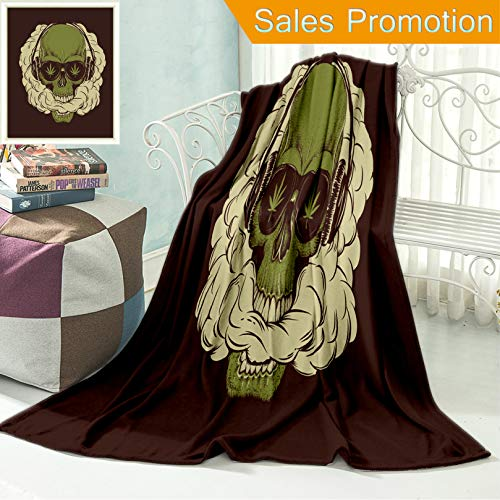 """Ailieo Unique Custom Flannel Blankets Skull Smoking A Marijuana and Breathes The Smoke Out of His Mouth Prints Design for T Shirt Super Soft Blanketry for Bed Couch, Throw Blanket 40"""" x 60"""" -"""