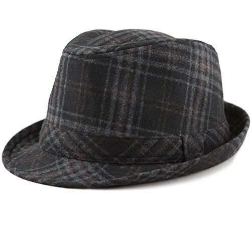 The Hat Depot Faux Suede Wool Blend Trillby Fedora Hats (S/M, Plaid Wool Blend)