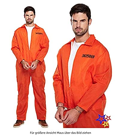 thematys Mono prisión Naranja + Esposas - Disfraz de ...