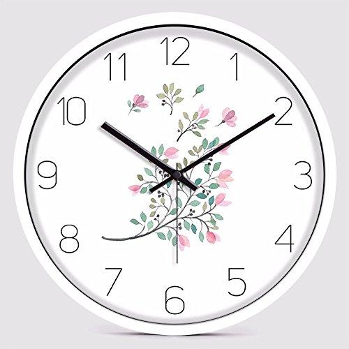 オフィス用寝室用リビングルーム用静かな壁時計、シルバー B07DQBQF7D 銀 銀