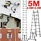 5M Portable A-Frame Ladder Multi-Purpose Aluminium Telescopic Folding Ladder- 16 Steps 150KG - Extendable 88cm to 500cm