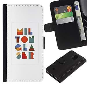 iBinBang / Flip Funda de Cuero Case Cover - Art Modern Colorful I L O N R S - Samsung Galaxy S5 Mini, SM-G800, NOT S5 REGULAR!