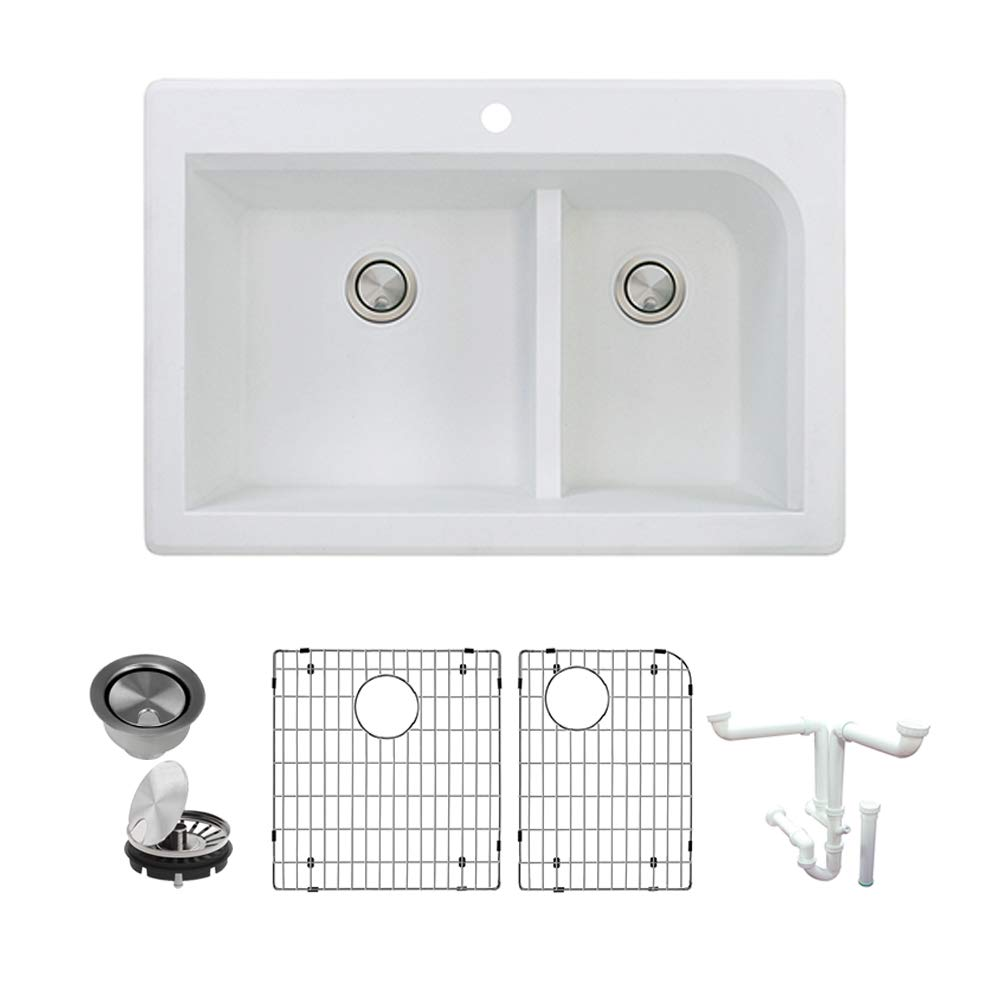 Transolid K-RTDJ3322-01 Radius Granite 1-Hole Drop-in Double Offset Bowl Kitchen Sink Kit, 33-in L x 22-in W x 9-in H, White by Transolid
