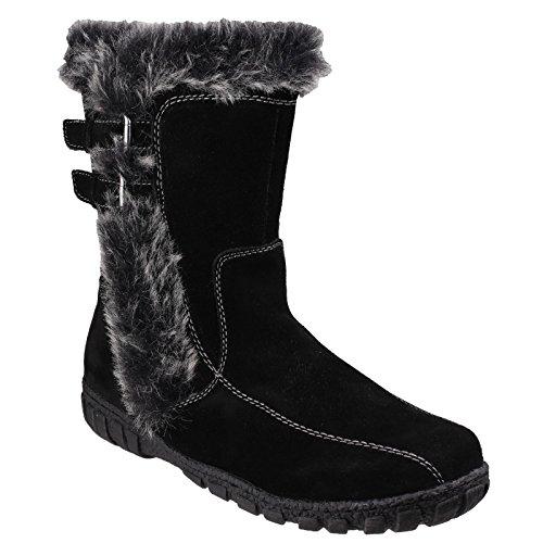 Cotswold Ladies Aston Leather Fur Trim Winter Snow Boots Black Black