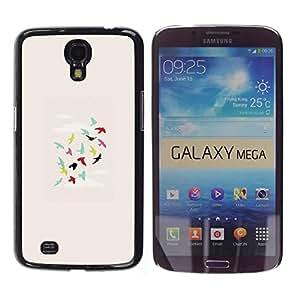 FECELL CITY // Duro Aluminio Pegatina PC Caso decorativo Funda Carcasa de Protección para Samsung Galaxy Mega 6.3 I9200 SGH-i527 // Birds Teal Green Pink Deep