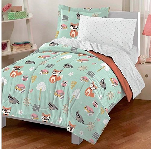 5pc Kids Cute Woodland Forest Animals Comforter Twin Set, Fox, Vibrant Green, Adorable Polka Dots Bedding, Trees Design, Sun, Squirrels, Pretty Raccoons, Owl by UNK