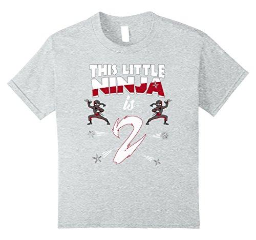 Funny Year Costumes 2 Old (Kids 2nd Birthday Boys Shirt Funny 2 Year Old Ninja Martial Arts 8 Heather)