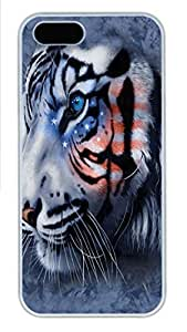 IPhone 5/5S Case Stars and Stripes Tiger PC Hard Plastic Case for iPhone 5/5S Whtie