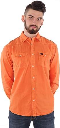 Wrangler Hombre Western Camisa Albaricoque Naranja: Amazon.es ...