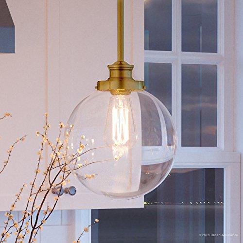 Gold Satin Clear Pendant (Luxury Vintage Pendant Light, Small Size: 12.75