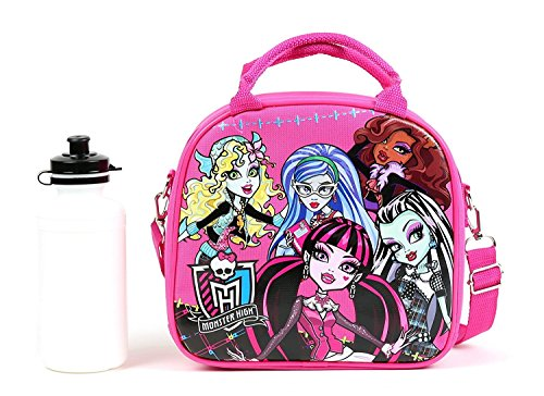Monster High Lunch Box Carry Bag with Shoulder Strap and Water Bottle (PINK) -