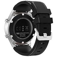 Banda FanTEK para Samsung Gear S3 Frontier /Reloj clásico, correa de repuesto deportiva de silicona con pasadores de liberación rápida de 22 mm. Funciona para Moto 360 2ª generación 46mm /Pebble Time Steel Smart Watch, Negro