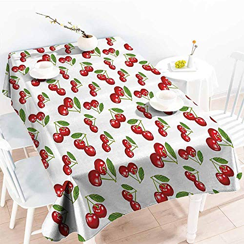 Homrkey Easy Care Tablecloth Kitchen Cherry Pattern Design Fresh Berry Fruit Summer Garden Macro Digital Print Red Green and White Excellent Durability W54 xL84