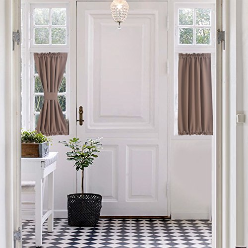 "Aquazolax Blackout Door Curtain Window Treatment Drapes Privacy - Single Panel, 25"" x 40"", Taupe/Khaki"