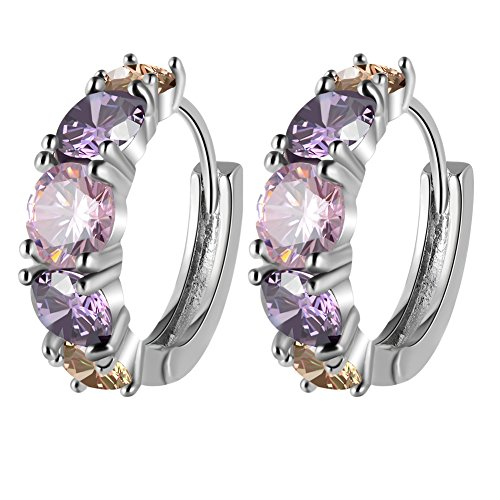 Paxuan-Womens-White-Gold-Plated-Hypoallergenic-Cubic-Zirconia-Small-Round-Huggie-Hoop-Earrings-15MM