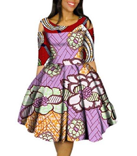 Graphic Party Two Mini Plus Fashion Dashiki Size Women Swing Batik Coolred Dress wISFzqx
