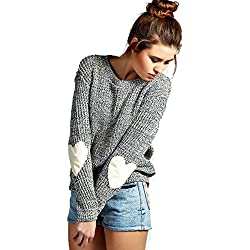 shermie Women's Cute Heart Pattern Patchwork Casual Loose Thin Long Sleeve Round Neck Knits Sweater Pullover Gray L